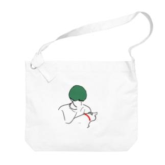 猫を抱える男  Big shoulder bags