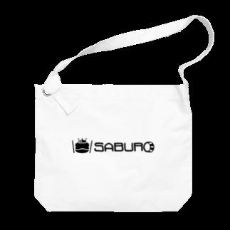 SABUROのカエル ドラム ロゴ ブラック Big shoulder bags