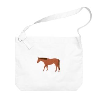 クレヨン風の馬(鹿毛) Big shoulder bags