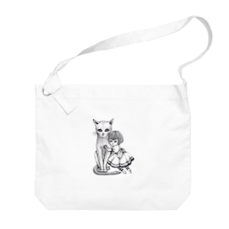 ArtSpringsの猫と少女 Big shoulder bags