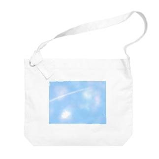 空と飛行機雲 Big shoulder bags