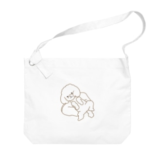 のびのびわんこ(透明) Big shoulder bags