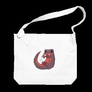 藍色Zooのはらぺこアカハライモリ Big shoulder bags