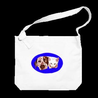ねこだいすきばばあのINUNEKO(Blue) Big shoulder bags