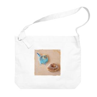 羊毛フェルトのふわふわインコとドーナツ Big shoulder bags