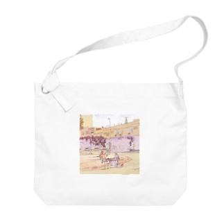 CG絵画:ロバの荷車 CG art: Donkey cargo Big shoulder bags