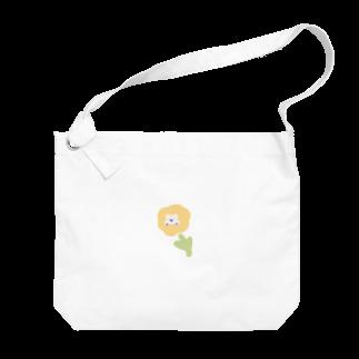 momoko_shopのくまさん お花 かわいい ふんわり Big shoulder bags