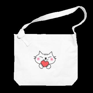 eigoyaのハートと白猫 Big shoulder bags