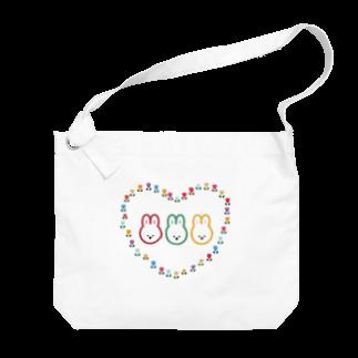 nutsのうさちゃん'sとお花畑 Big shoulder bags