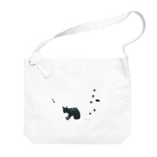 ぎんじろの黒猫+あしあと Big shoulder bags
