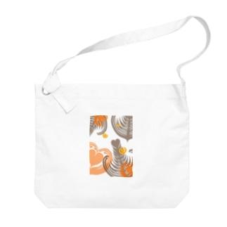 【ラテアート】レイヤーラテアート/オレンジブラウン Big shoulder bags