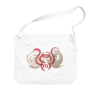 🍀森葉子グッズ🍀のお守り絵「ほっとけさん」透過1 Big shoulder bags