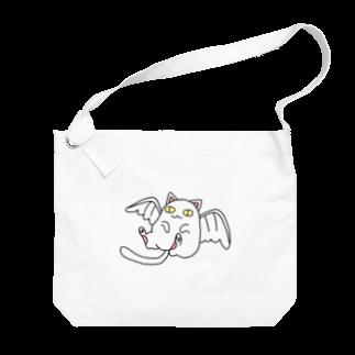 由伊つれづれアートの天使ネコ Big shoulder bags
