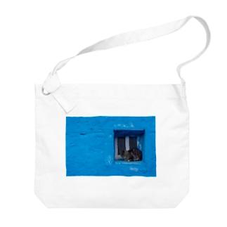 青と猫の窓 Big shoulder bags