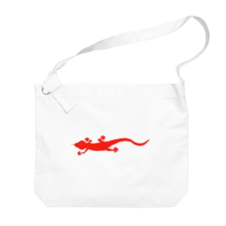 真っ赤なヤモリ(横) Big shoulder bags