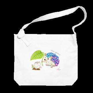 ボールペン【ボールペン画と可愛い動物】のやまない雨はないよ。 Big shoulder bags