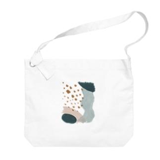 SON.S  - ソンス - 図案作家 -のかさなる曲線 / ピンクブルー Big Shoulder Bag