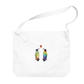 虹色ペンギンLOVE Big shoulder bags