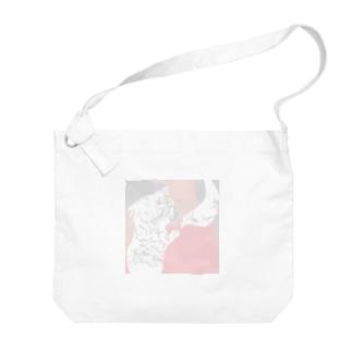 猫と人 Big shoulder bags