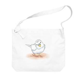 セキセイインコ レティ【まめるりはことり】 Big shoulder bags