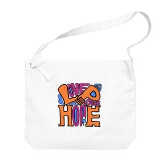 (Love+Peace)×Hope Big shoulder bags