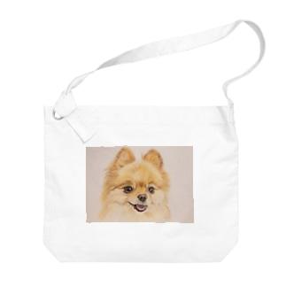 うちの子似顔絵グッズ♪【(例)ポメラニアン】 Big shoulder bags