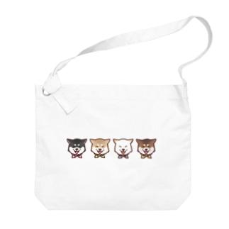 スマイル柴犬(ライン) Big shoulder bags
