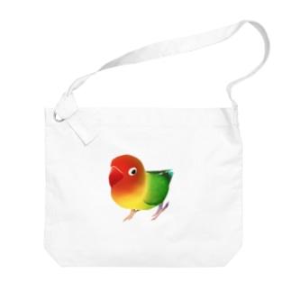 ボタンインコ おすましルリゴシボタンインコ【まめるりはことり】 Big shoulder bags