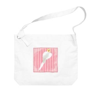 オカメインコ ハートルチノーオカメインコ【まめるりはことり】 Big shoulder bags
