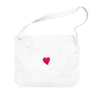 ピンクのハート Big shoulder bags