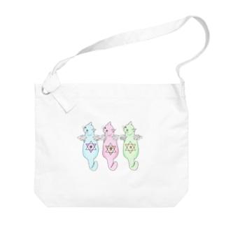 願いを背負ったネコ Big shoulder bags