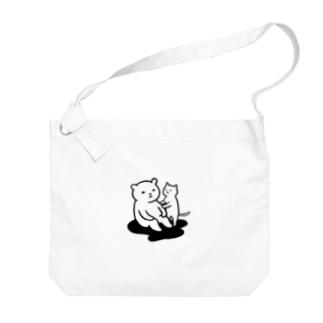 思案するクマ Big shoulder bags