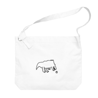 タレ目ティラノとプチヒヨコ Big shoulder bags
