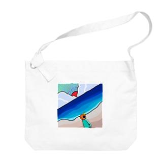 砂浜に来たトリさん Big shoulder bags