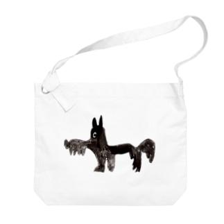 KAERUCAFE SHOPの黒茶犬 Big shoulder bags