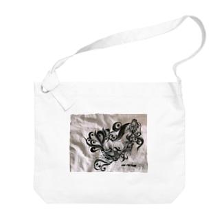 松岡陽子の切り絵金魚 Big shoulder bags