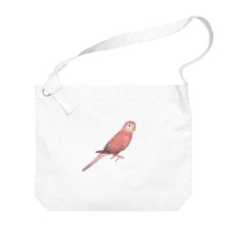 アキクサインコ ピンク【まめるりはことり】 Big shoulder bags