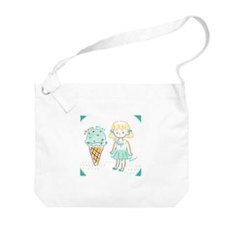 チョコミント Big shoulder bags