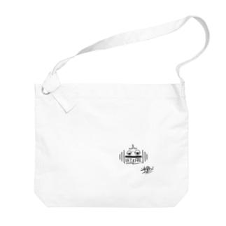 snaggedgorillaのダンベル × ガシラ(ブラック) Big shoulder bags