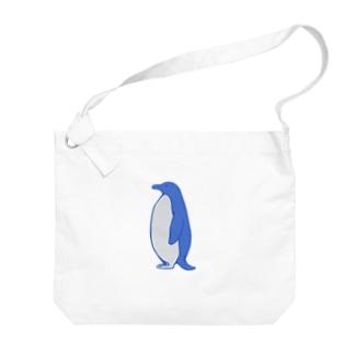 手描きのエトセトラのペンギン Big shoulder bags