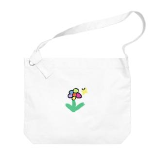 お花とちょうちょさん Big shoulder bags