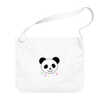 Yuuオリジナルイラスト25 パンダと5色の星 Big shoulder bags
