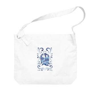 アマビエ様と波・青 Big shoulder bags
