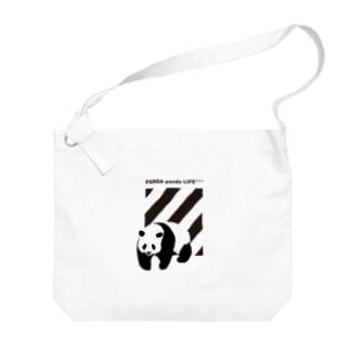 飛び出すパンダ ストライプ Big shoulder bags