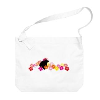 ハイビスカスクロウサギ Big shoulder bags