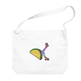 タコス ローラースケート ガール  TACOS ROLLER GIRL DOT 水玉 ドット Tacos Rollerskate Rainbow Big Shoulder Bag