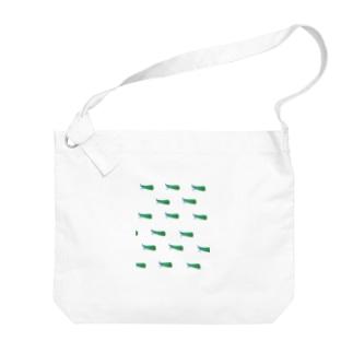 テングビワハゴロモちゃん(青)いっぱい Big shoulder bags