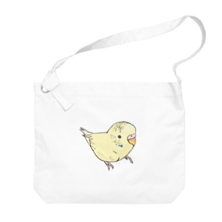 まめるりはことりの可愛いセキセイインコ おすましちゃん【まめるりはことり】 Big shoulder bags