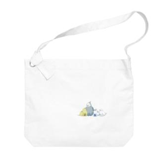 ドット絵インコたち Big shoulder bags