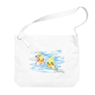 Sweet Cockatiels/浮き輪で海水浴 Big shoulder bags